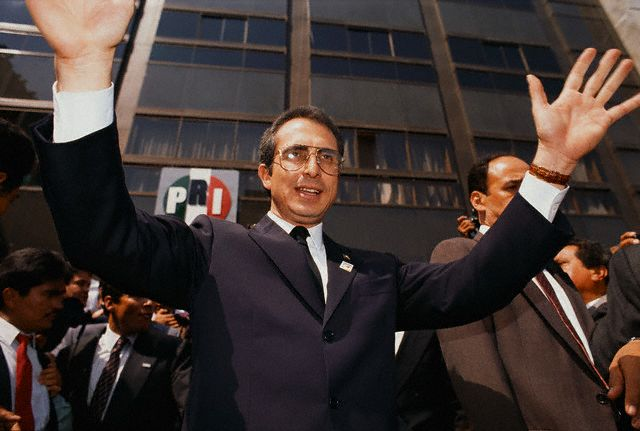 Ernesto Zedillo Greeting People Outside PRI Headquarters