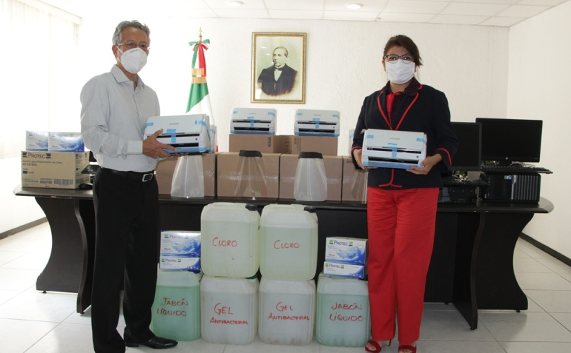 Cumple PJE con entrega de material de higiene y equipo tecnológico ajuzgados
